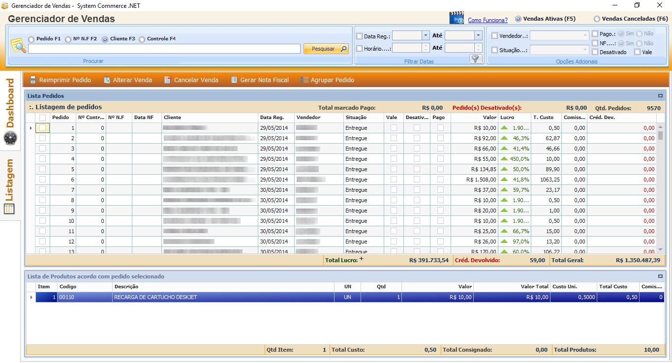 tela de listagem do gerenciador de vendas
